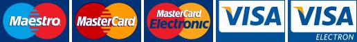 Maestro, MasterCard Electronic, MasterCard, Visa, Visa Electron